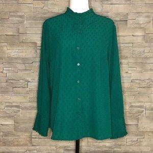 Banana Republic green textured blouse